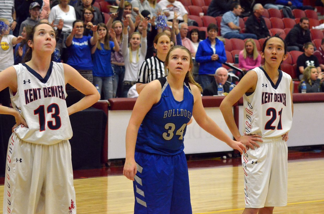 Moffat County High School's Brittnee Meats follows the ball with her eyes as an MCHS free throw lands.