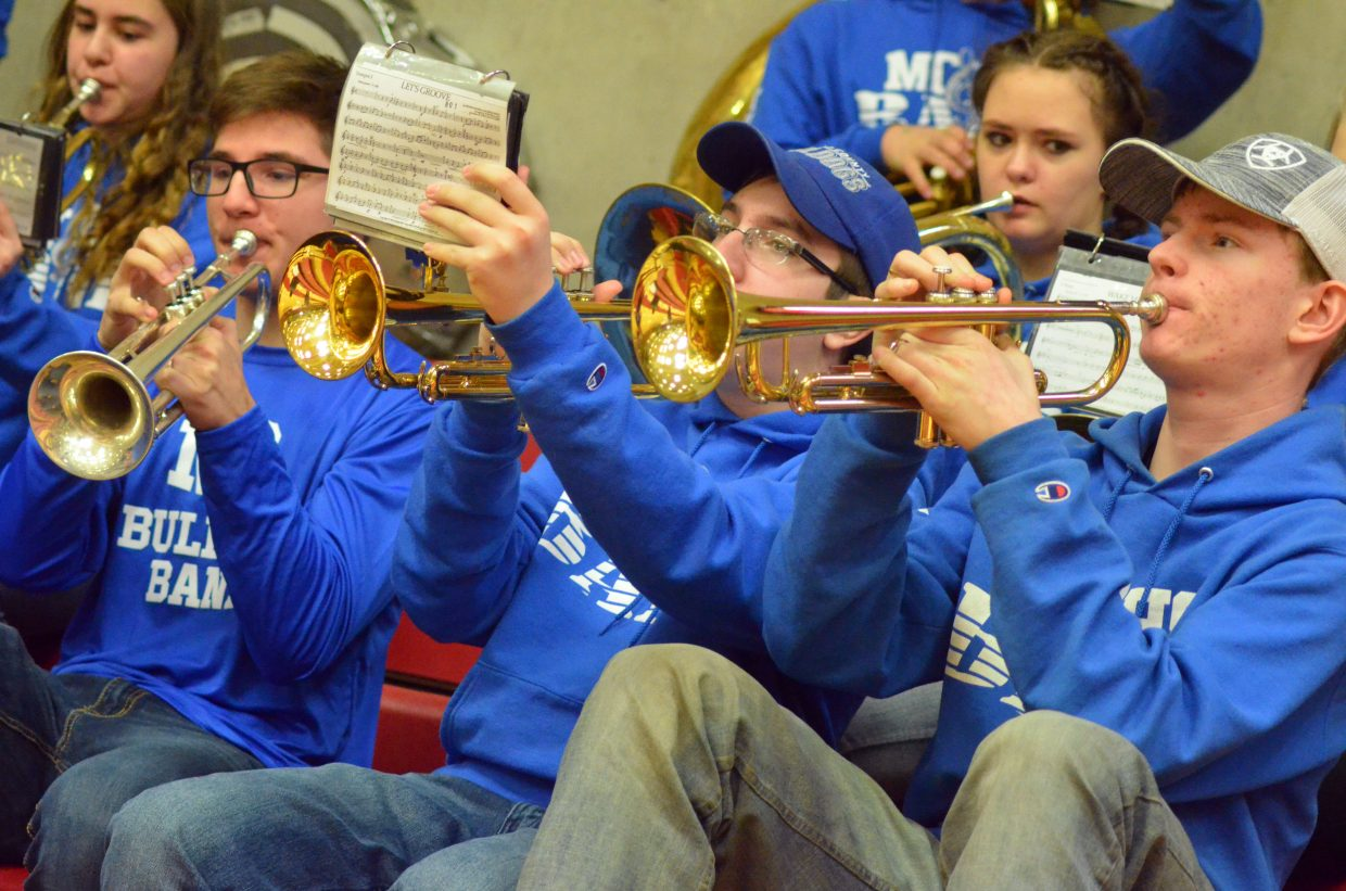 The brass section of the Moffat County High School band performs Mighty Mighty Bosstones'