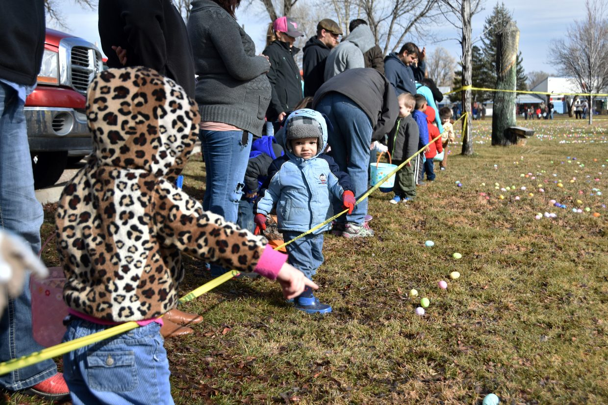 Children wait for the starting countdown at the State Farm Easter Egg Hunt.