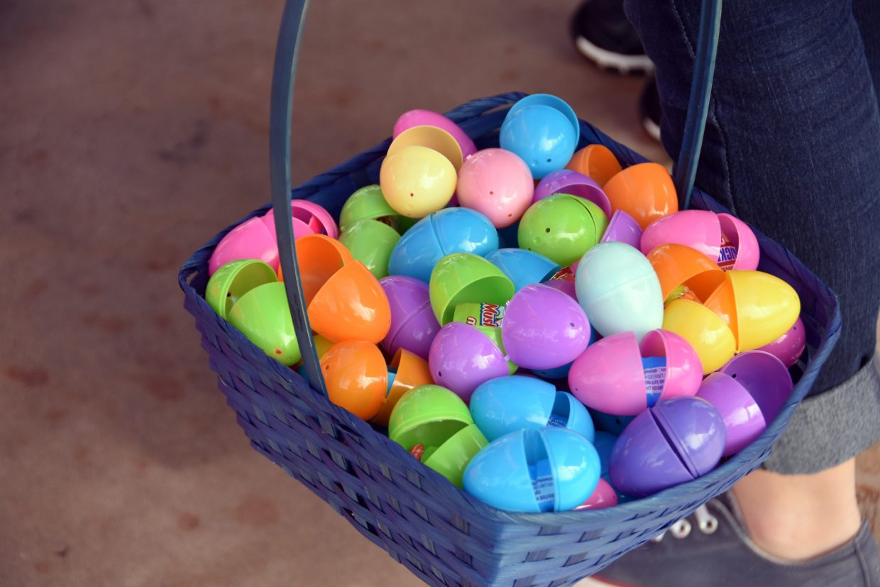 After about 20 minutes of hunting for plastic eggs, children's baskets were brimming with sweets and prizes.