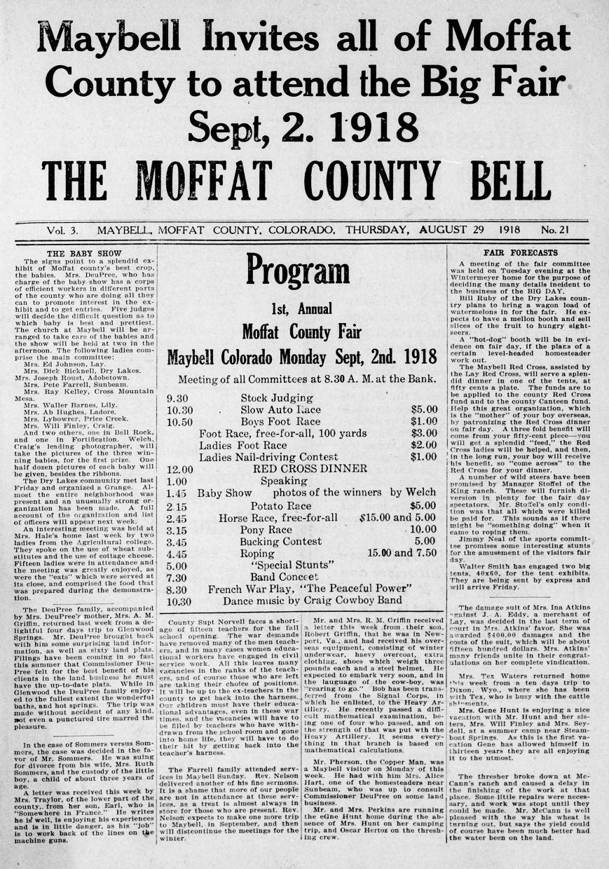 A 1918 copy of the newspaper Moffat County Bell teases the schedule for the inaugural Moffat County Fair, then hosted in Maybell.