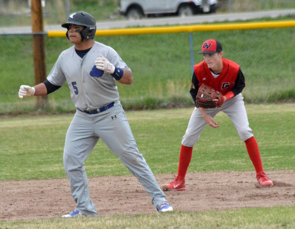 Moffat County High School's Jefferson Piatt readies to take off from second base.