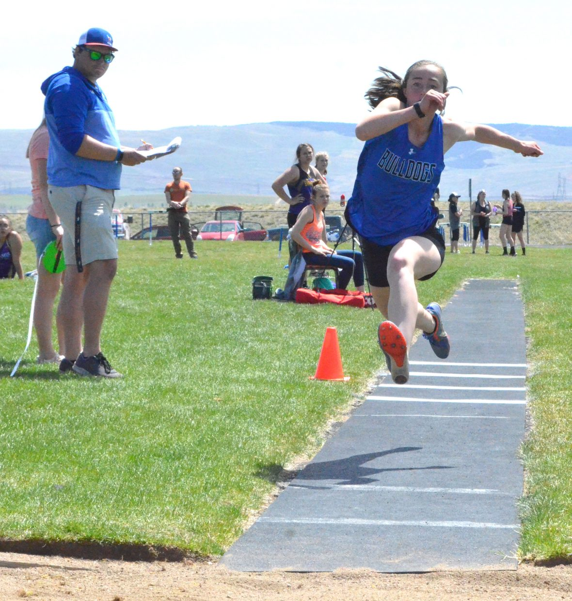 Moffat County High School's Josie Timmer goes into her routine during the girls triple jump Friday at the Clint Wells Invitational.