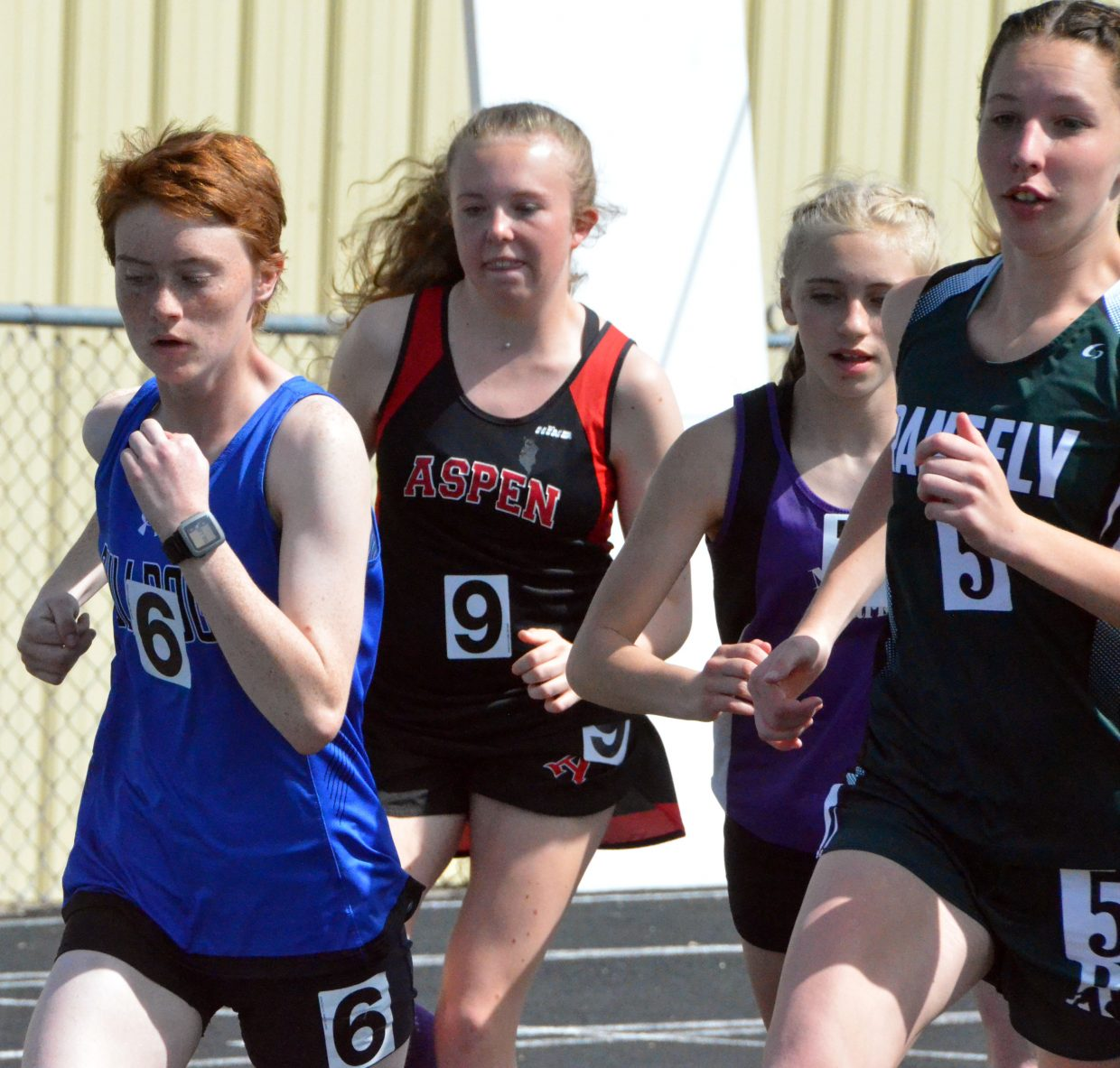 Moffat County High School's Lydia Berkoff preps for a two-mile race in the 3,200-meter run Friday at the Clint Wells Invitational.