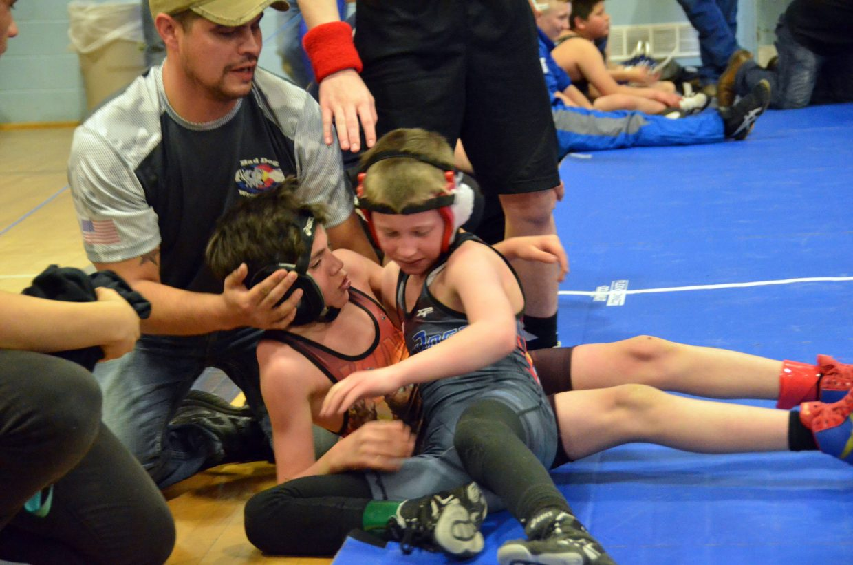 Tate Green tumbles off the mat in Saturday's Levi Weber Memorial Tournament.