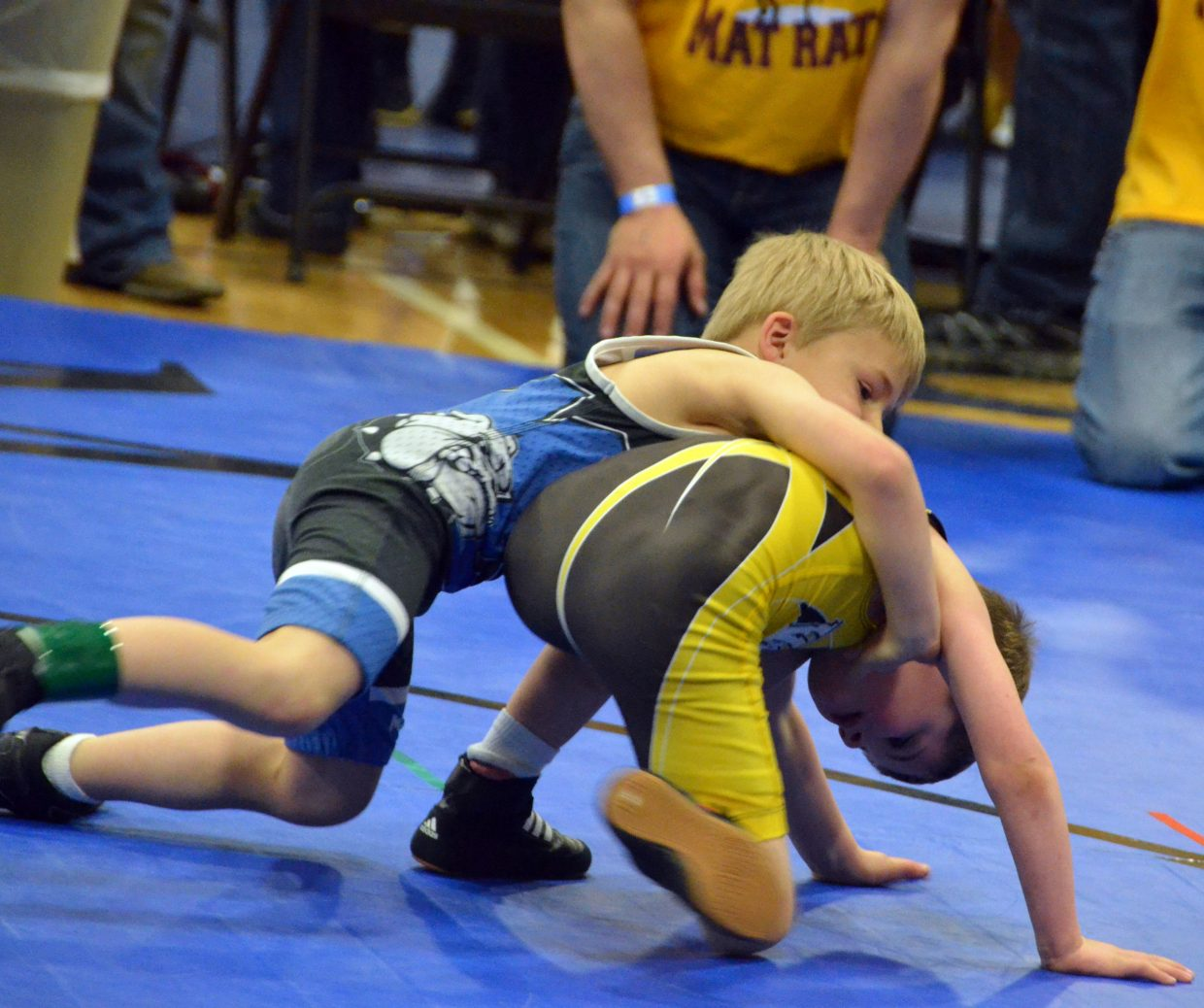 Quentin Hartung pushes his opponent to the mat in Saturday's Levi Weber Memorial Tournament.