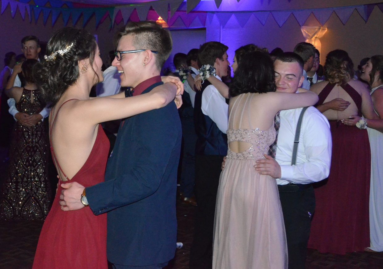 Students slow dance during Moffat County High School prom at Clarion Inn & Suites.