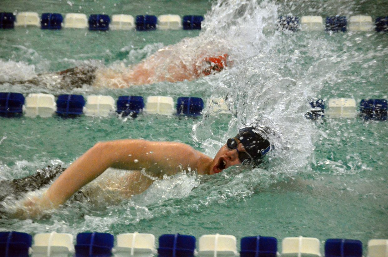 Moffat County High School's Nathan Cooper competes during the MCHS 2018 home swim meet. Bulldogs most recently swam at Glenwood Springs.