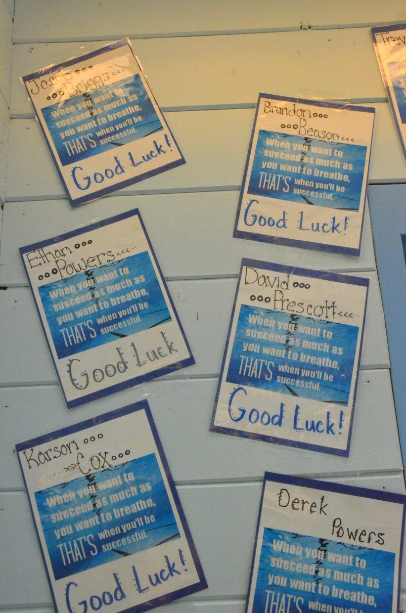 Decorations wish Moffat County High School swimmers good luck.