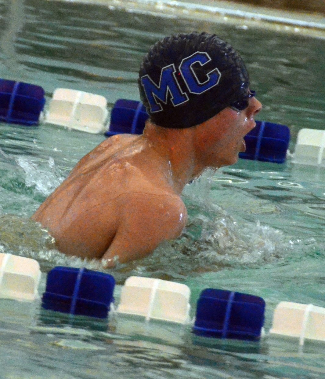 Moffat County High School swimmer Devin McIntosh competes in the 200-meter individual medley at MCHS's Friday meet.