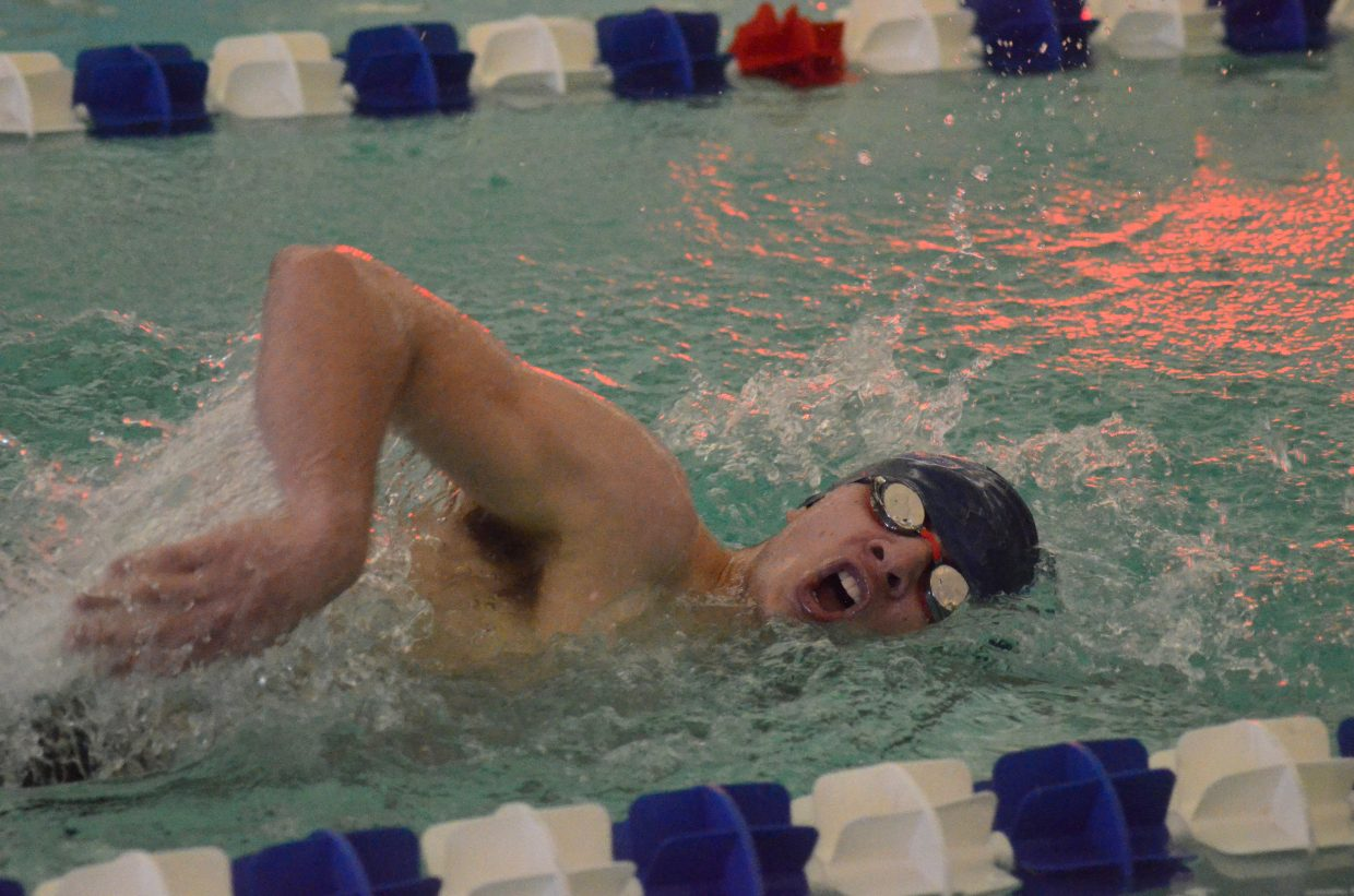 Moffat County High School swimmer Marcus Delgado takes on his final lap in the 400-meter freestyle at MCHS's Friday meet.