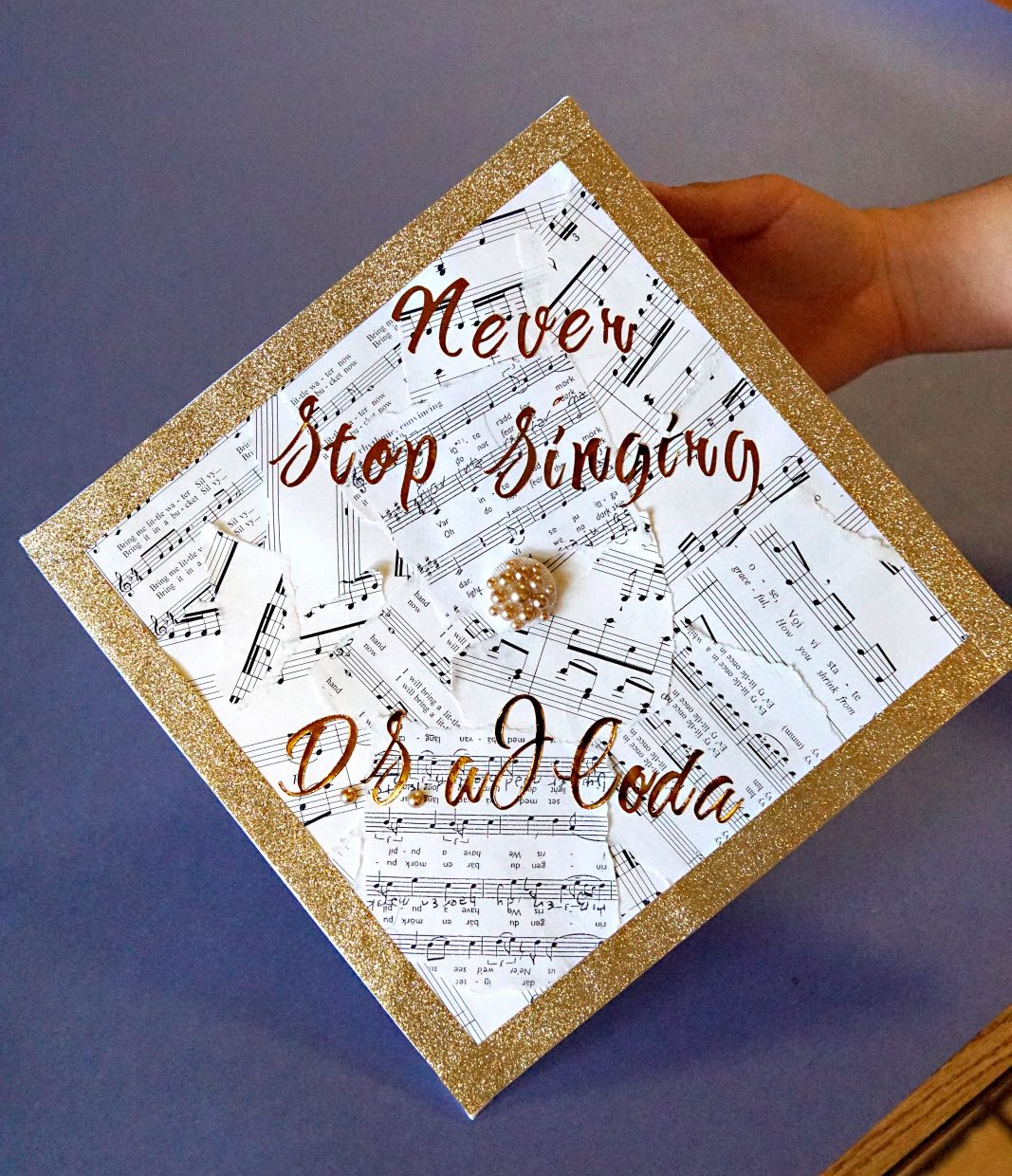 This musically themed cap caught the attention of adults on hand to assist students.