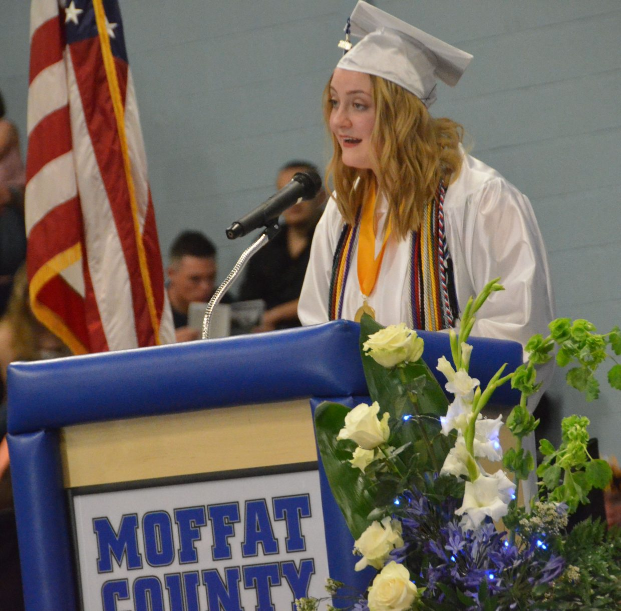 Moffat County High School's Olivia Neece gives the commencement address during Saturday's graduation ceremony.