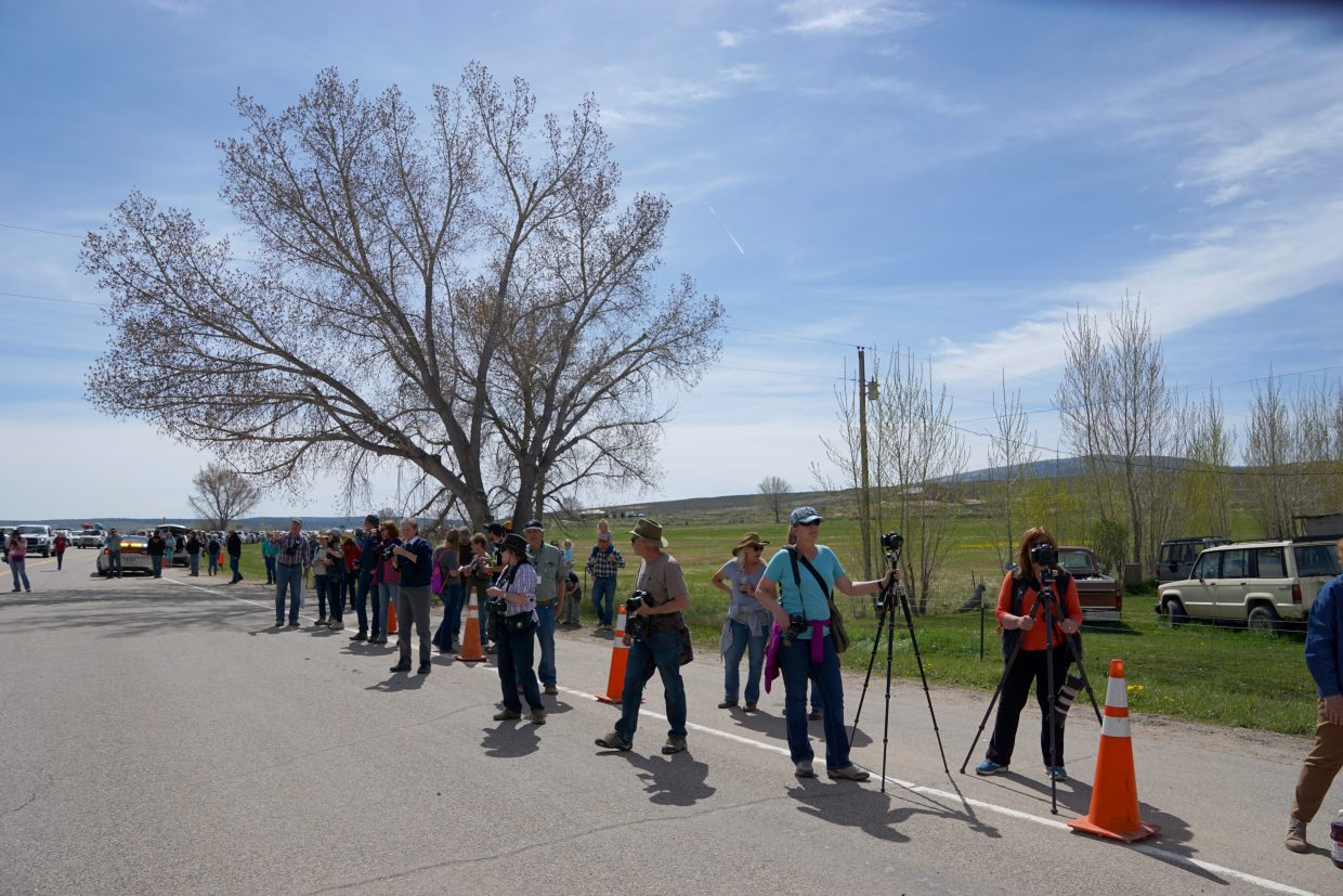 Photographers from near and far line U.S. Highway 40 for a chance to photograph more than 460 domestic horses as they moved from winter to summer pastures.