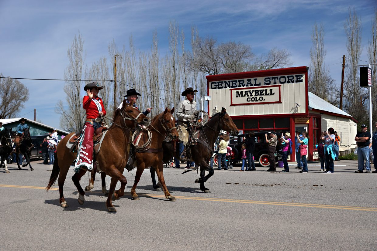 Riders and horses filled the road in the tiny town of Maybell for about 15 minutes on Sunday.