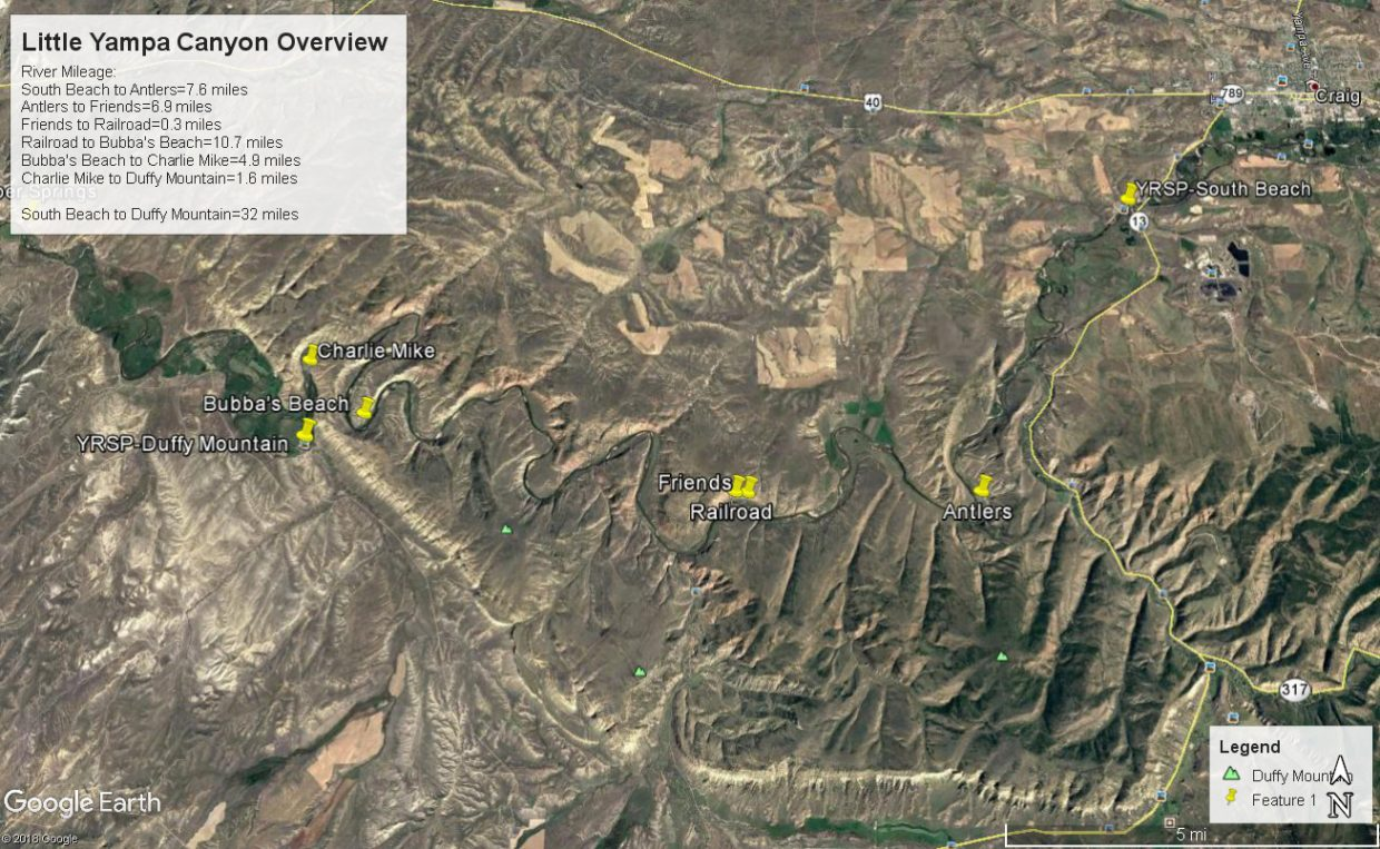Satellite image showing campsites between South Beach and Duffy Mountain river access points on a stretch of river that travels through the Little Yampa Canyon.