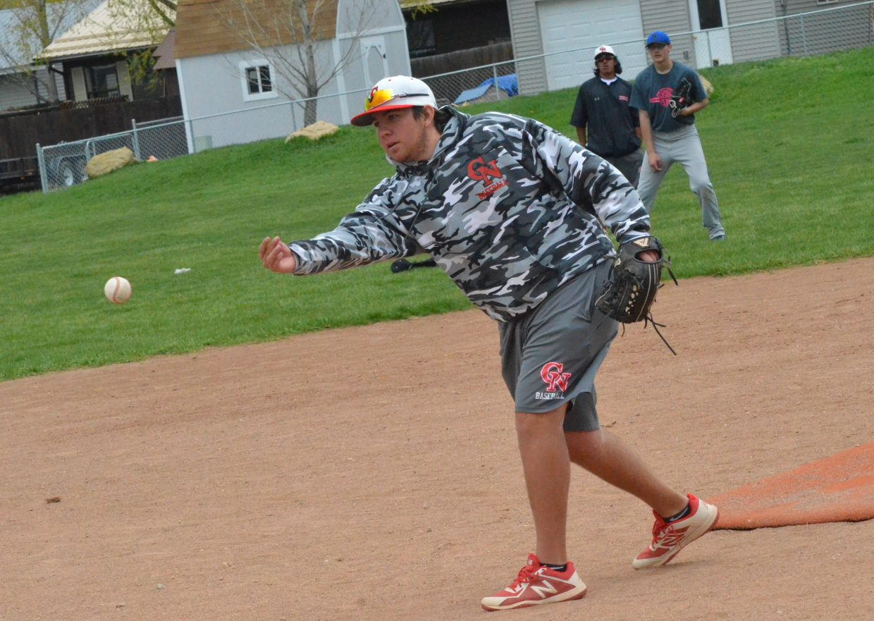 Trever Berg with Colorado Northwestern Community College baseball, pitches during the Spartan Baseball Clinic
