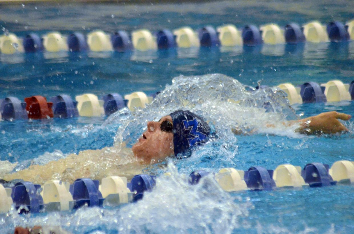 Moffat County High School's Cody Evaristo looks to achieve his best time yet in the 100-yard backstroke Friday at the CHSAA State Championships.