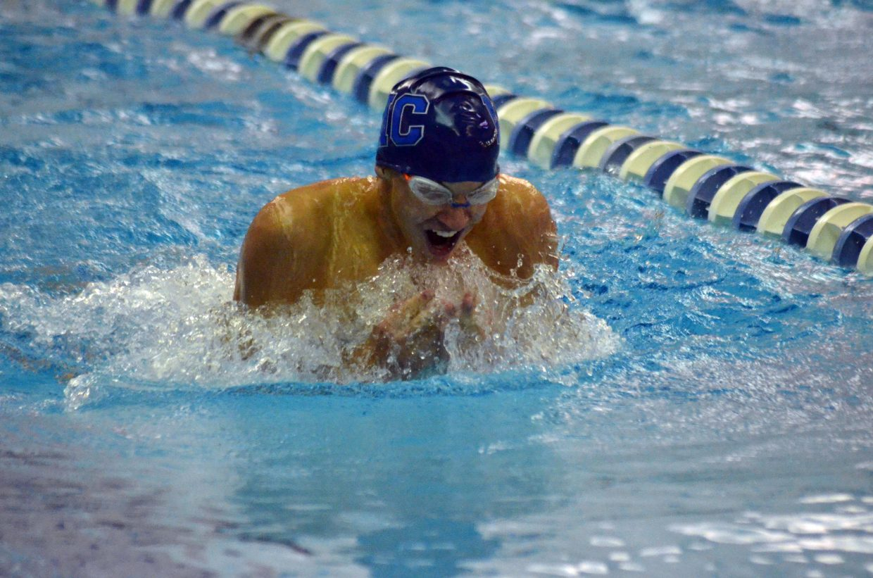 Moffat County High School swimmer Brooks Birkinbine competes in the 100-yard breaststroke Friday at the CHSAA State Championships.