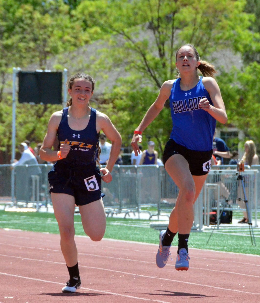 Moffat County High School's Emaleigh Papierski looks to finish first in the 400-meter dash preliminaries of Friday's Western Slope Multi-Leagues Meet.