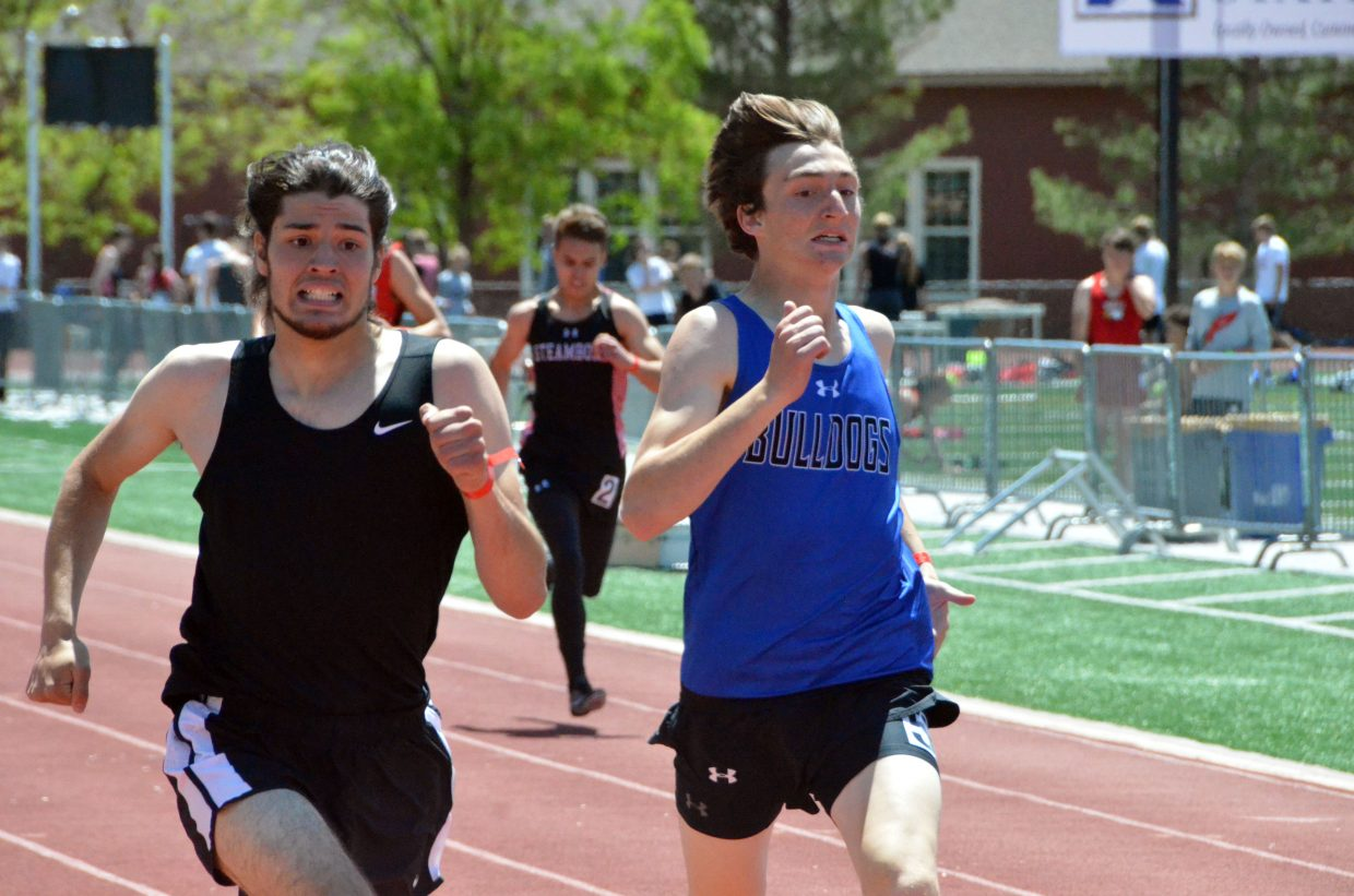 Moffat County High School's AJ Barber guts it out in the final feet of the 400-meter dash preliminaries of Friday's Western Slope Multi-Leagues Meet.
