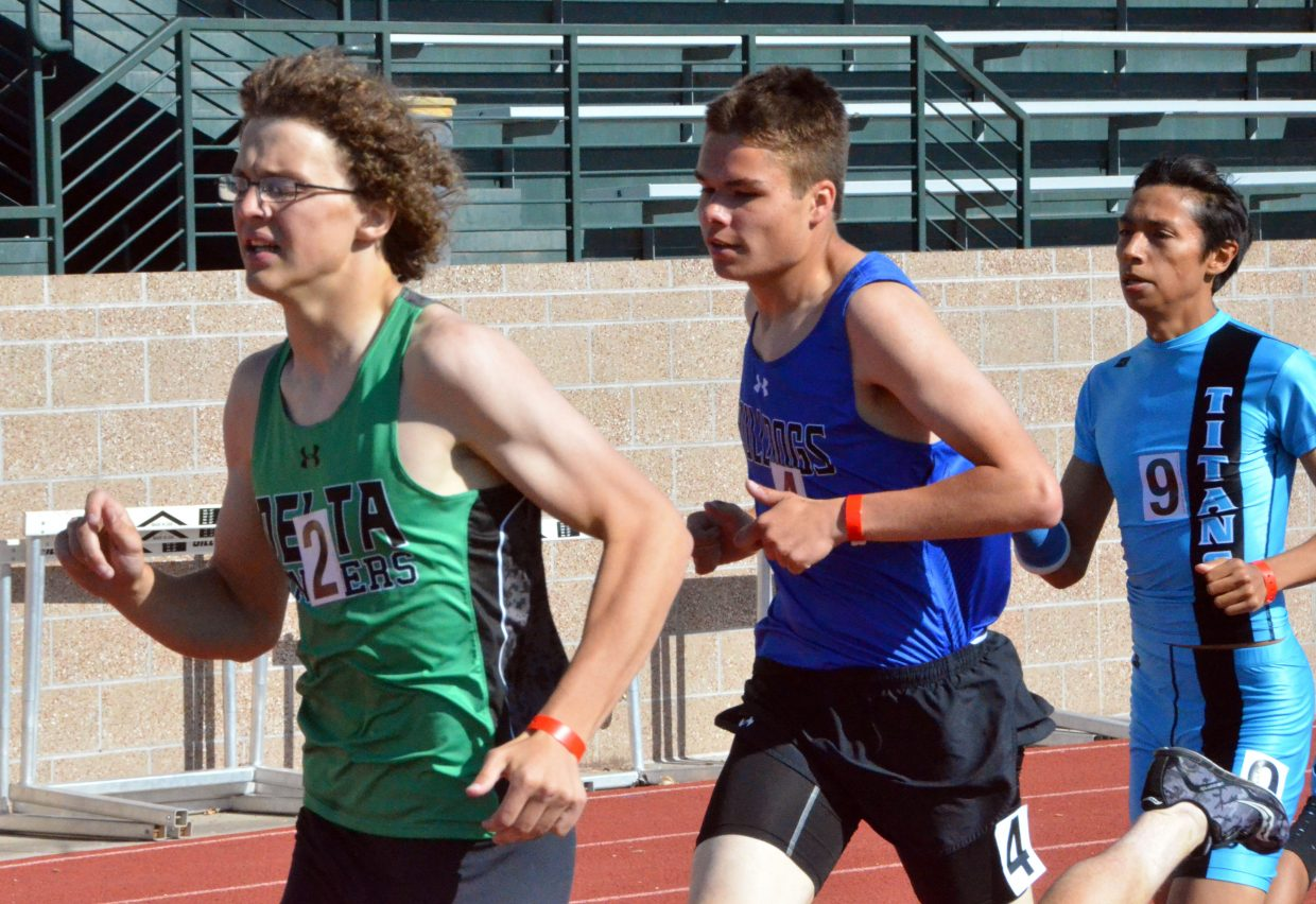 Moffat County High School's Carter Severson taps into his energy in the final stretch of the 800-meter run at Friday's Western Slope Multi-Leagues Meet.