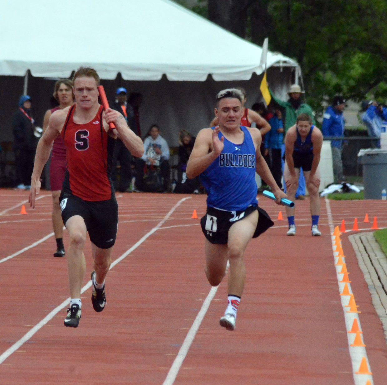 Moffat County High School's Victor Silva hustles down the final stretch of the 4x100-meter relay Saturday at the CHSAA State Championships.