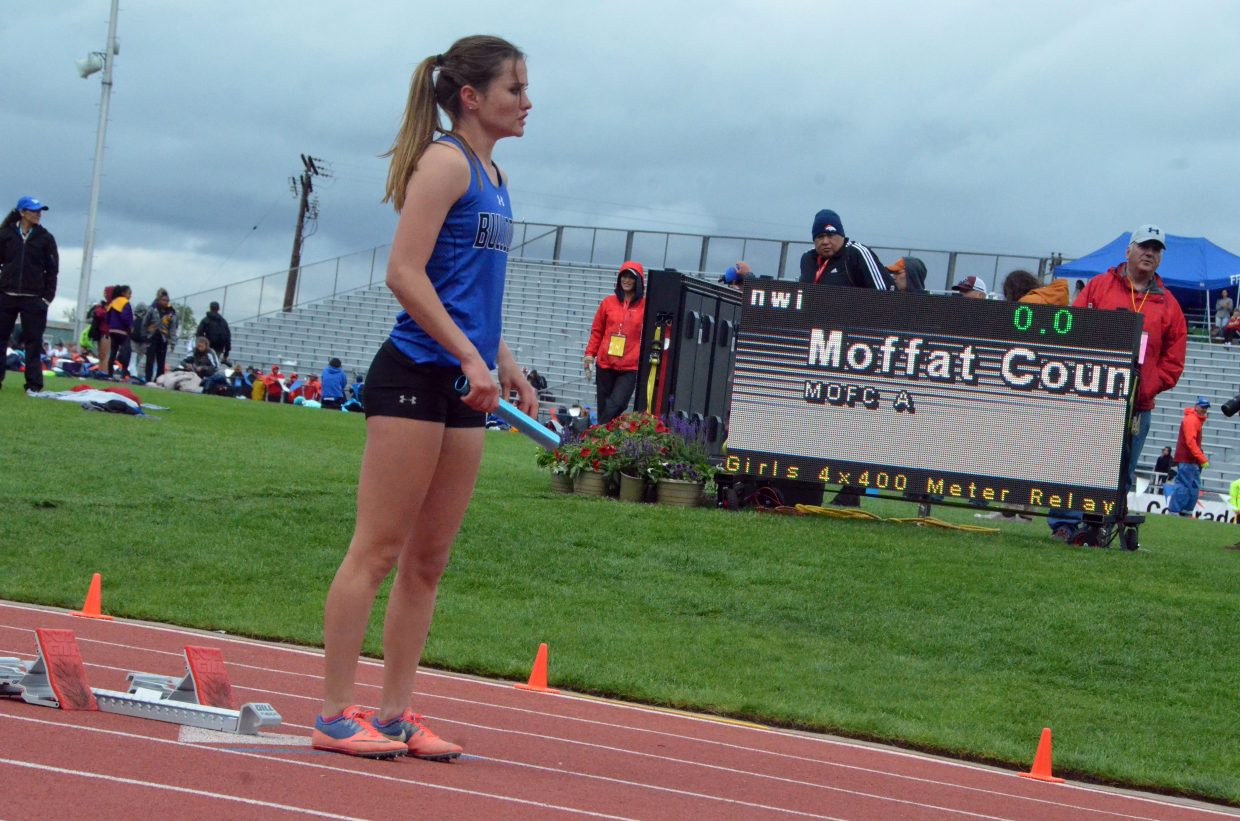 Moffat County High School's Stephenie Swindler preps mentally just before the start of the 4x400-meter relay Saturday at the CHSAA State Championships.