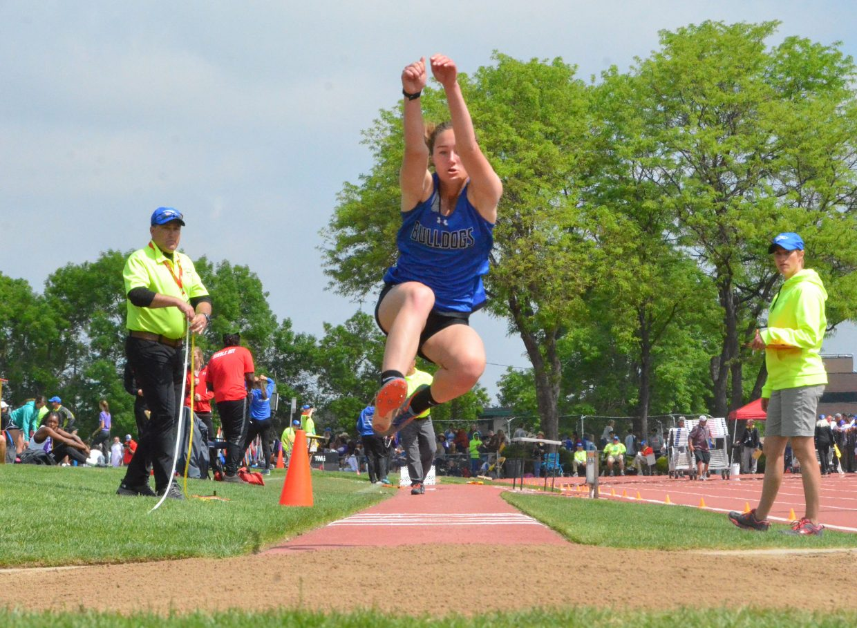 Moffat County High School's Josie Timmer takes a leap in the triple jump Friday at the CHSAA State Championships.