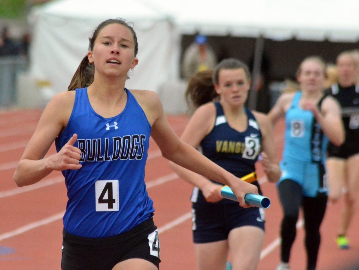 Moffat County High School's Emaleigh Papierski, pushes through the pain to complete the 4x400-meter relay Saturday at the CHSAA State Championships.