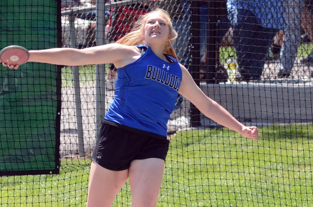 Moffat County High School's Caylah Million gets ready for a release in the discus throw Friday at the CHSAA State Championships.