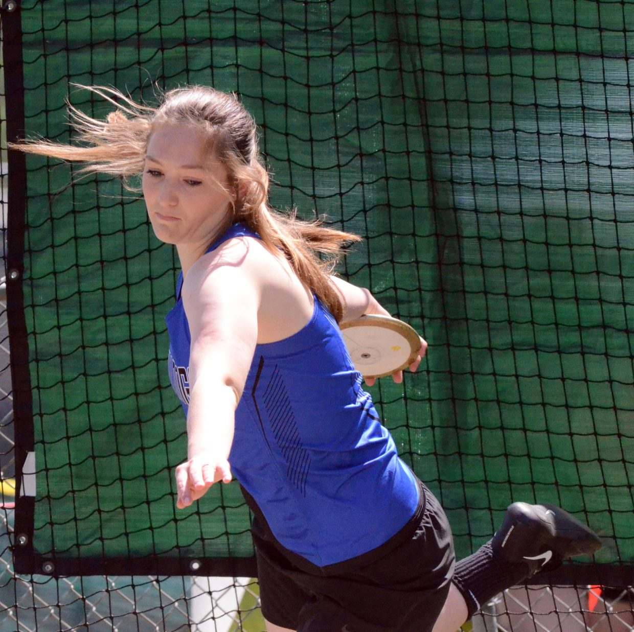 Moffat County High School's Tiffany Hildebrandt starts her spin in the discus throw Friday at the CHSAA State Championships.