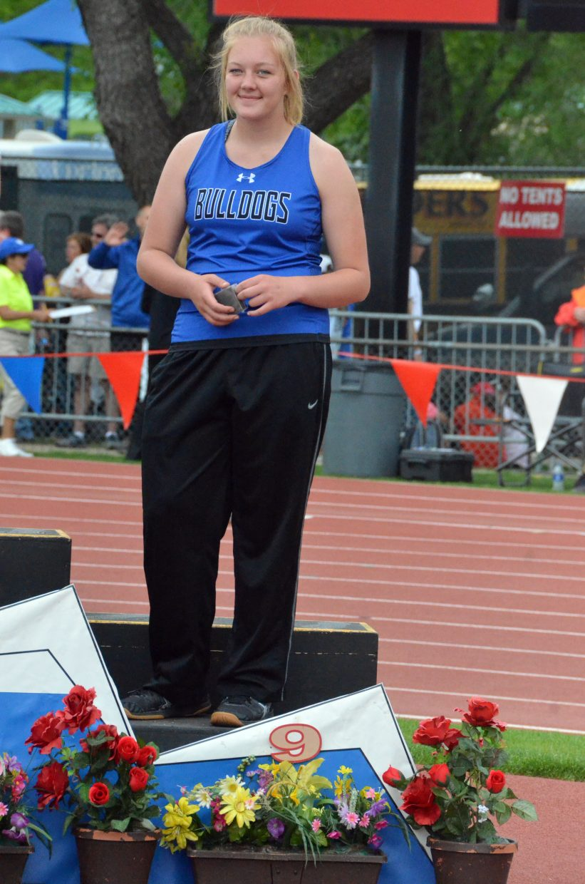Moffat County High School's Caylah Million makes it to the podium for ninth place in the discus throw Friday at the CHSAA State Championships.