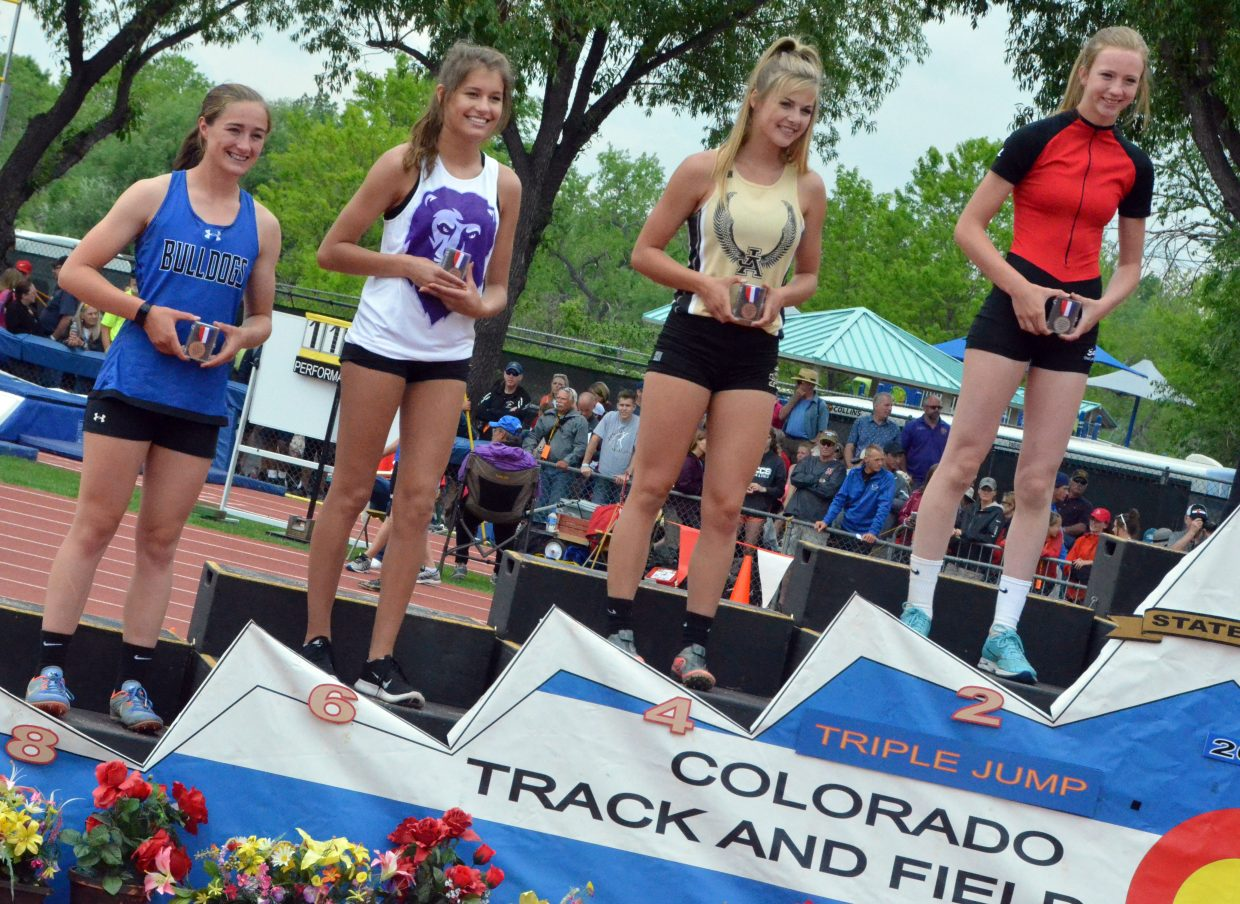 Moffat County High School's Josie Timmer smiles with her eighth-place honors for the triple jump Friday at the CHSAA State Championships.
