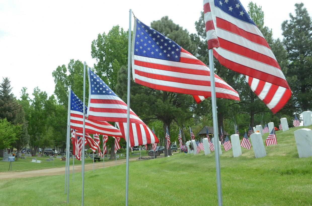 Flags adorn the Craig Cemetery in honor of Moffat County's fallen veterans. Several hundred residents turned out for the annual Memorial Day Service, held at 10 a.m. Monday, May 28.