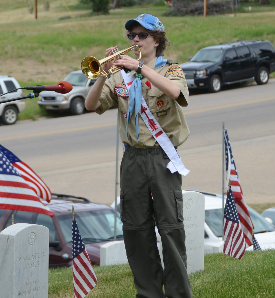 Local Boy Scout Jeremy Looper plays