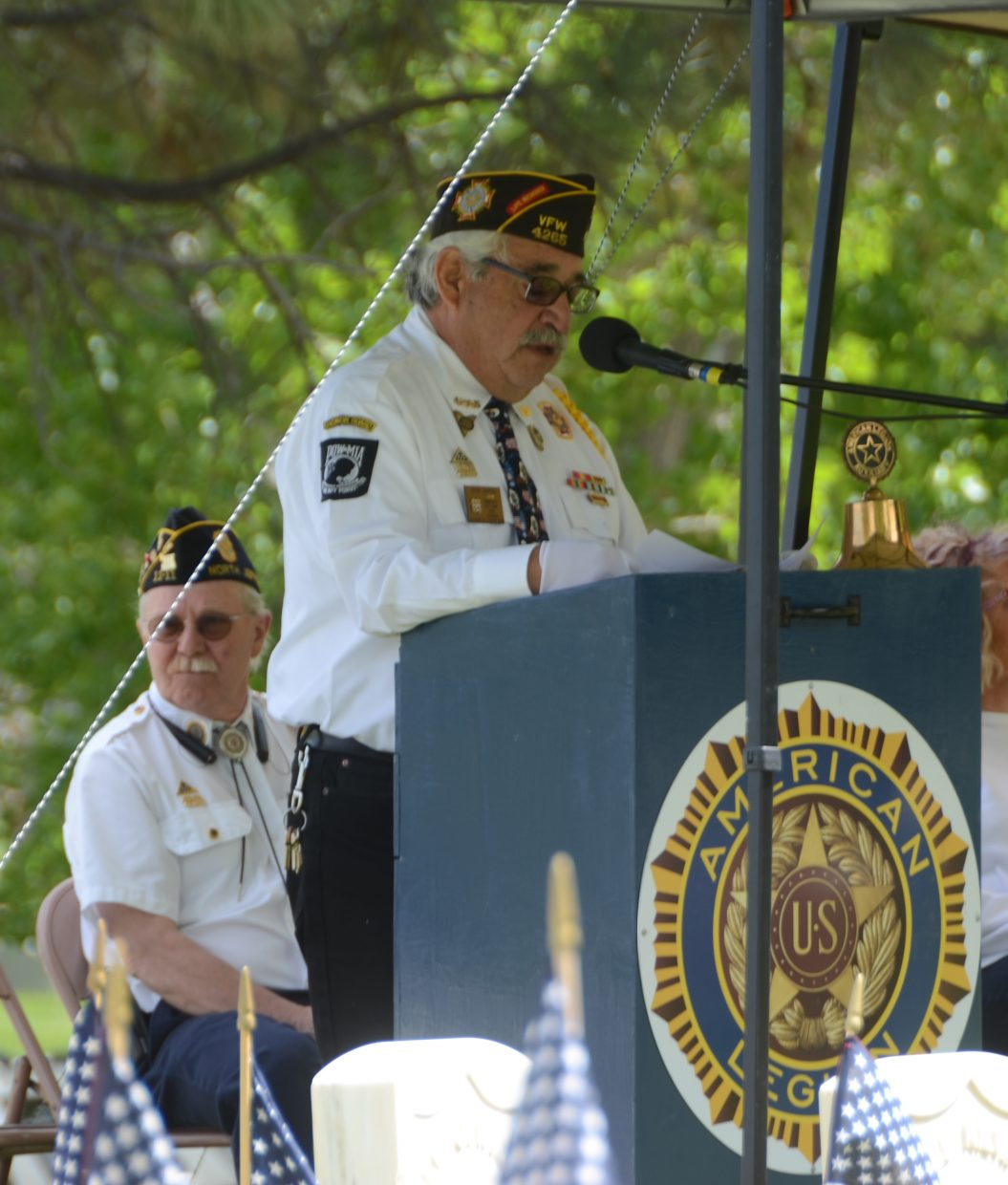 John Garcia, a U.S. Army veteran and Commander of VFW Post 4265, delivers Memorial Day remarks during the Memorial Day Ceremony, held Monday at the Craig Cemetery.