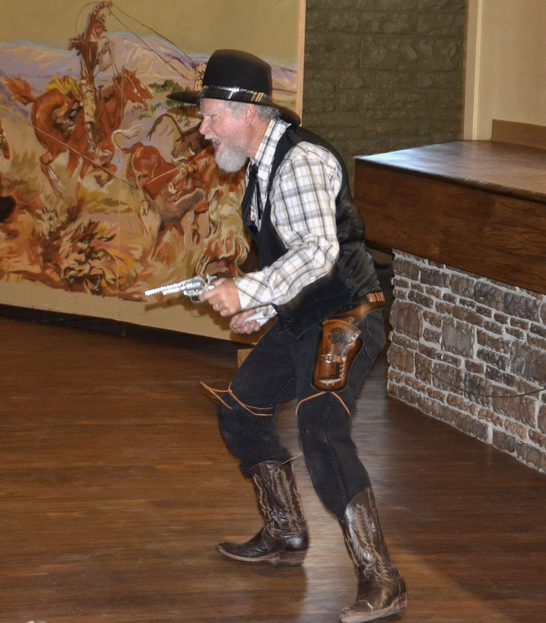 The sheriff (Randy Looper) chases a potential suitor out of town during Monday's performance of