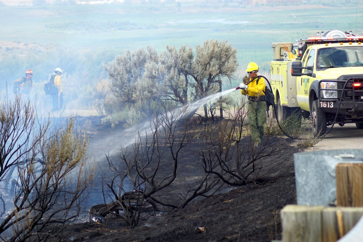 BLM joined multiple agencies in fighting a small fire that threatened several structures on Thursday.