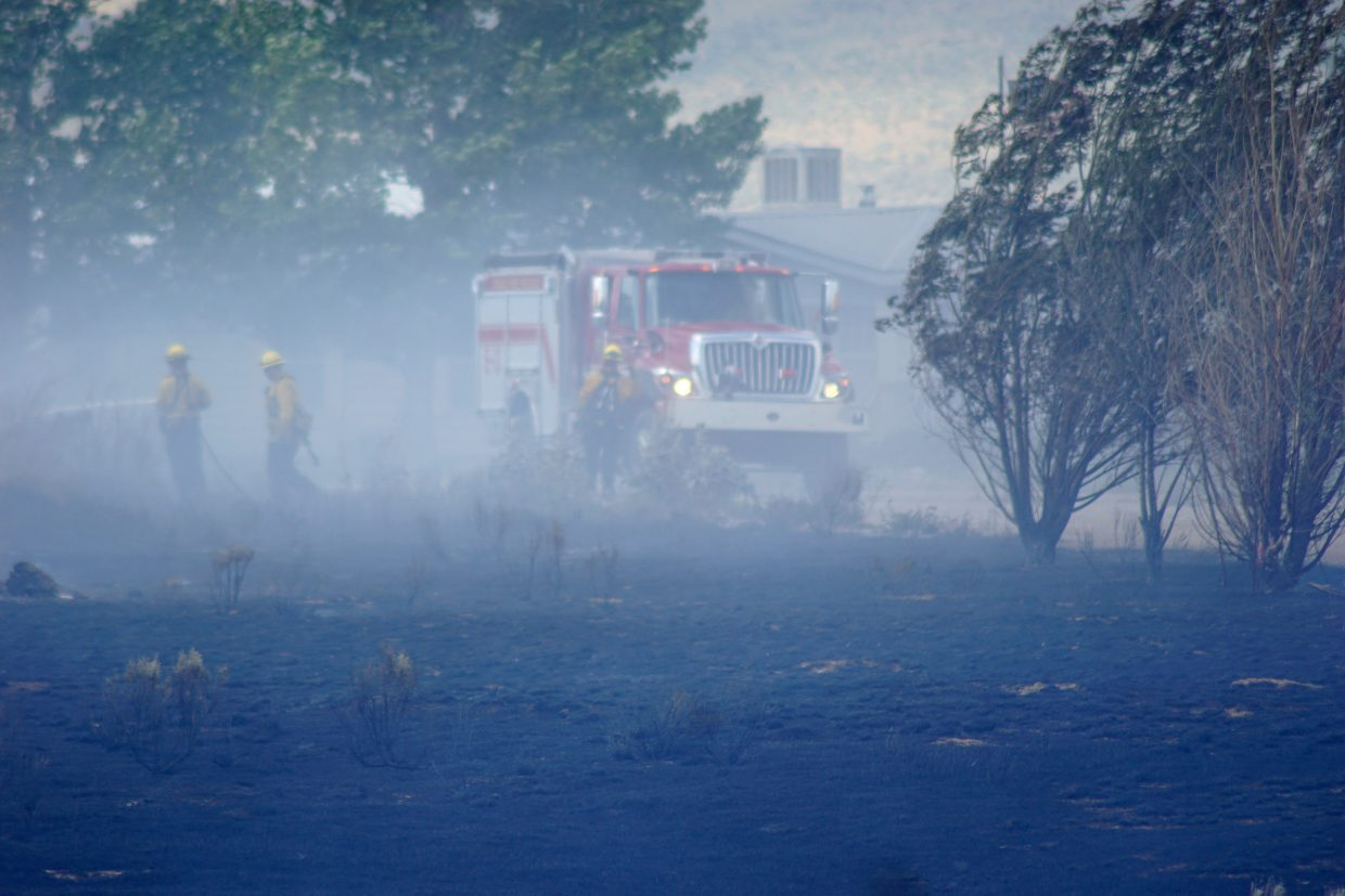 Multiple agencies were able to contain a fire near Maybell Thursday afternoon before nearby structures could be damaged.