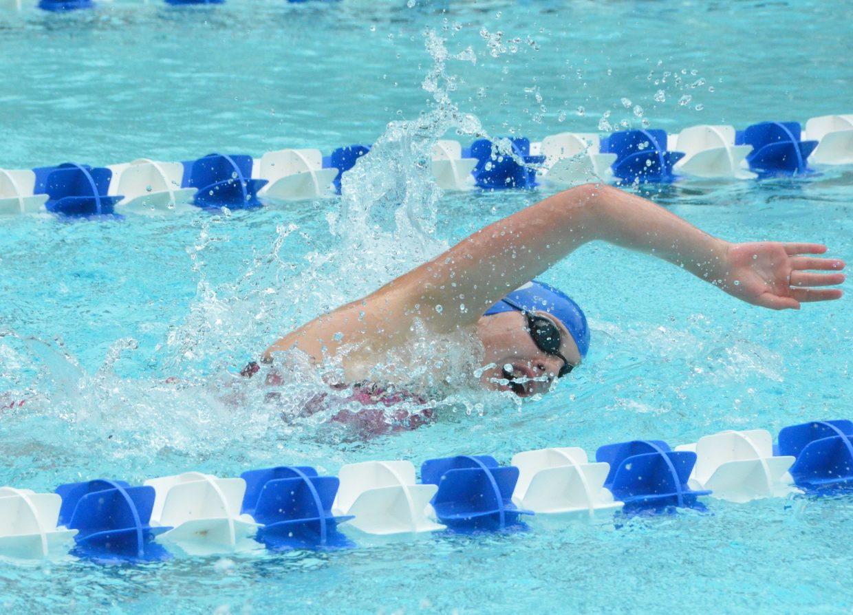 Alexa Neton swims the anchor for the 200 medley relay during Craig Sea Sharks Open Swim Meet Saturday at Craig Pool Complex.