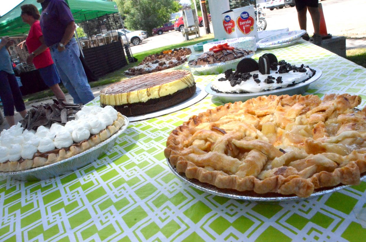 A variety of pastries await judging as part of the pie contest hosted by Downtown Business Association.