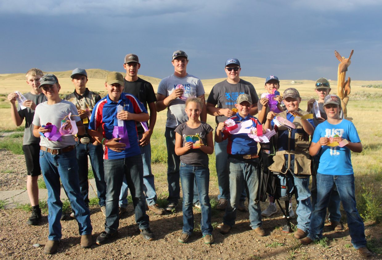 The Moffat County 4-H shotgun teams display their awards from the state completion shoot at Craig Trap Club.