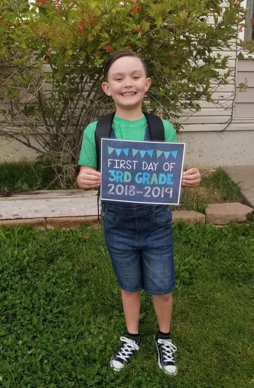 Jeremiah Wright on his first day as a third-grade student at Sandrock Elementary School. Grade : 3rd
