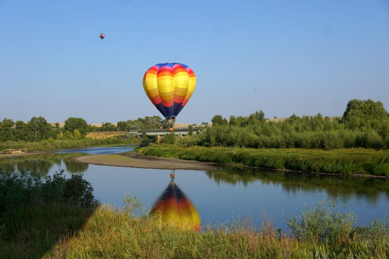 Hot air balloon near the Yampa River.