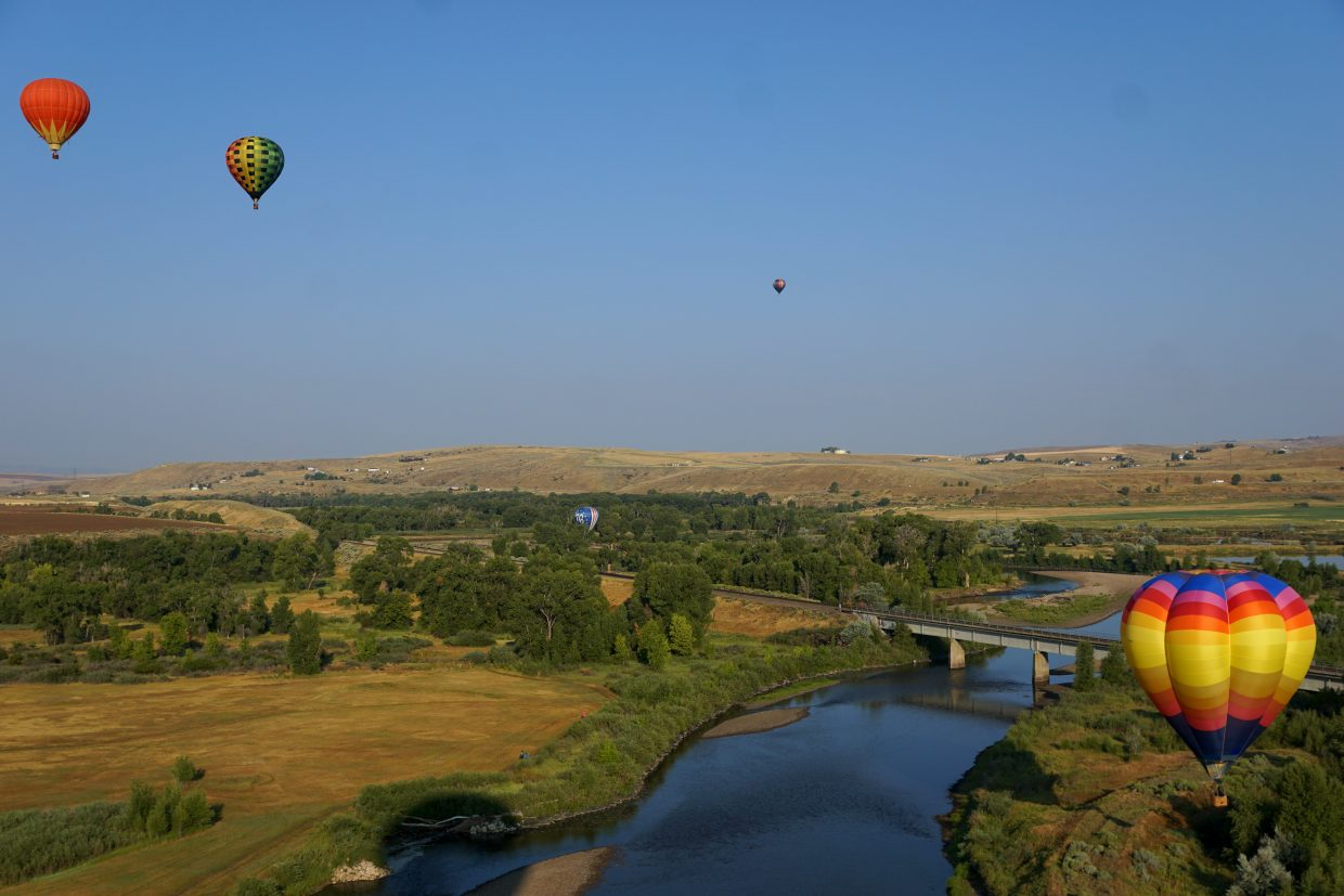 Hot air balloons over the Yampa River.