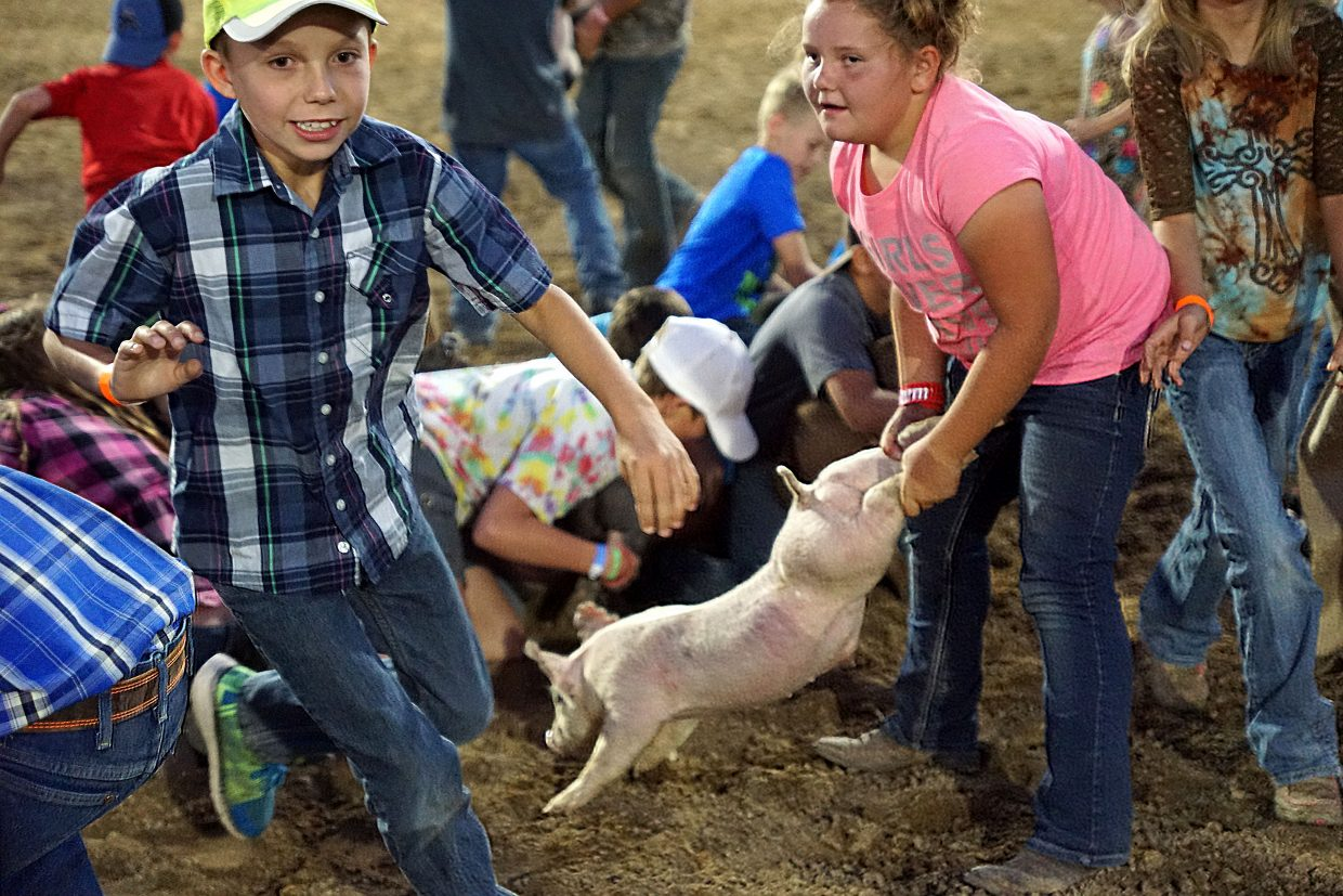 A girl keeps a firm hold on a pig she caught, as other children race around her to find their own porcupine.