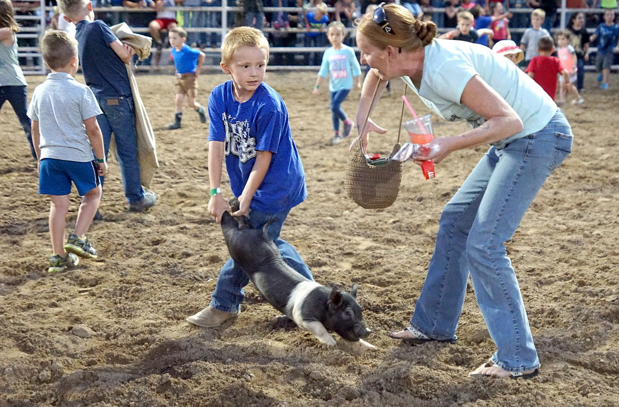 Catch-a-Pig is almost as exciting for the adults as the children.