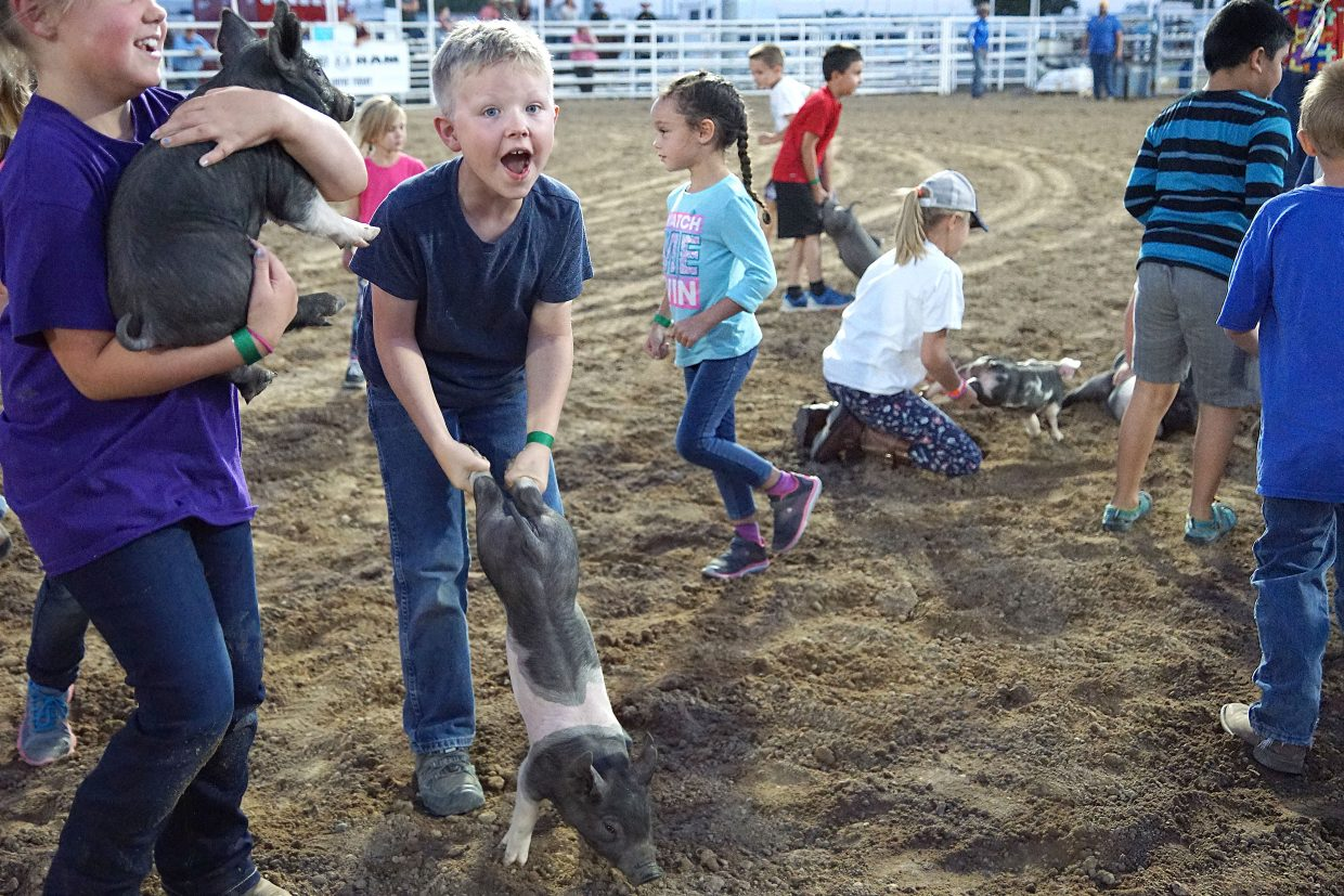 A child holds on to a pig using the wheelbarrel hold as he waits for a volunteer to bring a gunny sack to hold his prize. Pictured, left: Brook Daniels, in the purple shirt, holds a pig she caught.