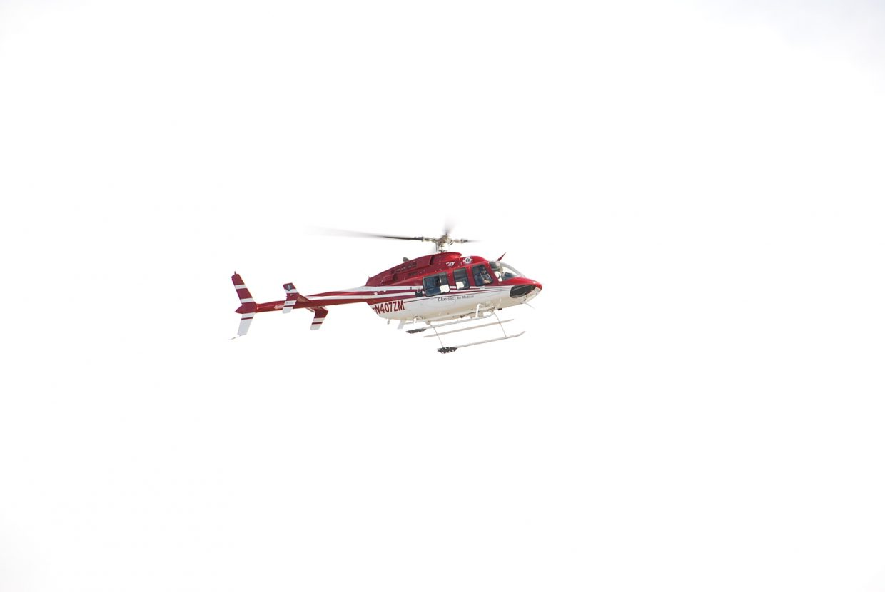 Classic Air Medical helicopter leaves the training to respond to a an actual emergency call.